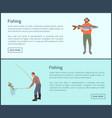 fishing men showing fish set vector image