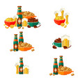 flat mug bottle golden beer foam snack set vector image