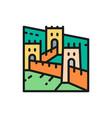 great wall china landmark flat color vector image