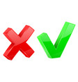green tick and red delete sign web 3d shiny icons vector image
