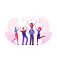group young people visiting music event or vector image vector image