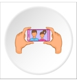 Hands photographed on cell phone icon vector image