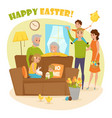 happy family easter composition vector image