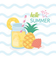 hello summer poster with fresh cocktail icons vector image vector image