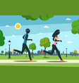 jogging in city park man and woman running vector image vector image