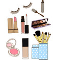 Makeup brushes in cup and cosmetics vector image