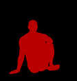 man sitting on ground silhouette vector image vector image