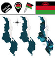 map of malawi with named districts vector image vector image