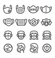 mask line icon set vector image vector image