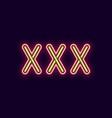 neon inscription of xxx vector image