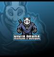 ninja panda esport mascot logo vector image