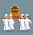 parade bali men carry sacred object on shoulder vector image vector image