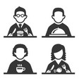 people eating tasting food pictograph icon set vector image