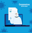 person with biohazard suit protection in laptop vector image vector image