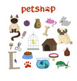 pet shop decorative icons set with canary fish vector image