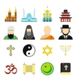 religion flat icons set vector image vector image