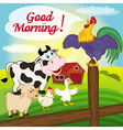 rooster sings on fence in morning vector image vector image