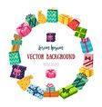 round frame made of flat cartoon gifts presents vector image vector image