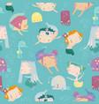 seamless pattern with cartoon little mermaids vector image