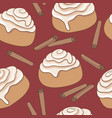seamless pattern with cinnamon rolls and cinnamon vector image vector image