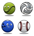 Set of four cartoonl sports balls vector image vector image