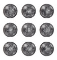silver cryptocurrency coins set vector image vector image