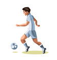 Soccer player quick shooting a ball