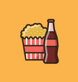 soda soft drink and box with popcorn vector image vector image