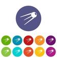 Sputnik set icons vector image