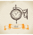 Street clock hand drawn vector image vector image