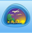 sunset with bungalows on sea resort aircraft in vector image vector image