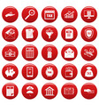 taxes icons set vetor red vector image