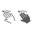 three fingers flick left line and glyph icon vector image vector image