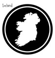 white map of ireland on black circle vector image vector image