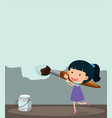 little girl painting the wall with light blue vector image