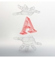 letter A and hand of lines vector image
