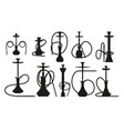 hookah silhouette set with pipe for smoking vector image