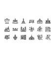 bangkok symbols and landmarks icon set 1 vector image vector image