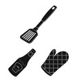 barbecue and equipment black icons in set vector image