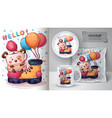 bear with balloon poster and merchandising vector image