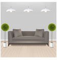 brown sofa with lams with grey background vector image vector image