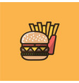 burger sandwich and french fries vector image vector image