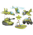 cartoon green military army vehicles set vector image