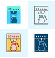 coffee maker icon set in flat and line styles vector image