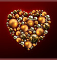 decorative christmas heart made of golden balls vector image vector image