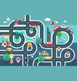 downtown city map with pins and cars on road vector image vector image