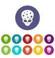 Extraterrestrial alien head set icons vector image vector image