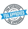 fda approved round grunge ribbon stamp vector image vector image