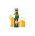 flat mug and bottle golden beer with foam vector image