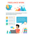 freelance work charts above male person at laptop vector image vector image